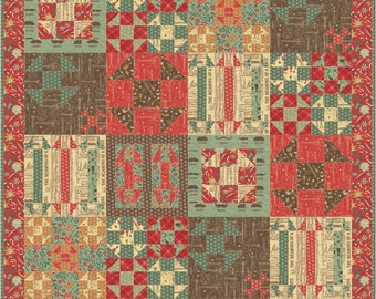 Ho Down a sample of shoo fly blocks in a patchwork quilt pattern