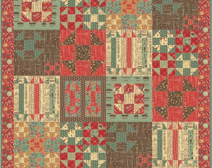 Ho Down a sample of shoo fly blocks in a patchwork pdf quilt pattern