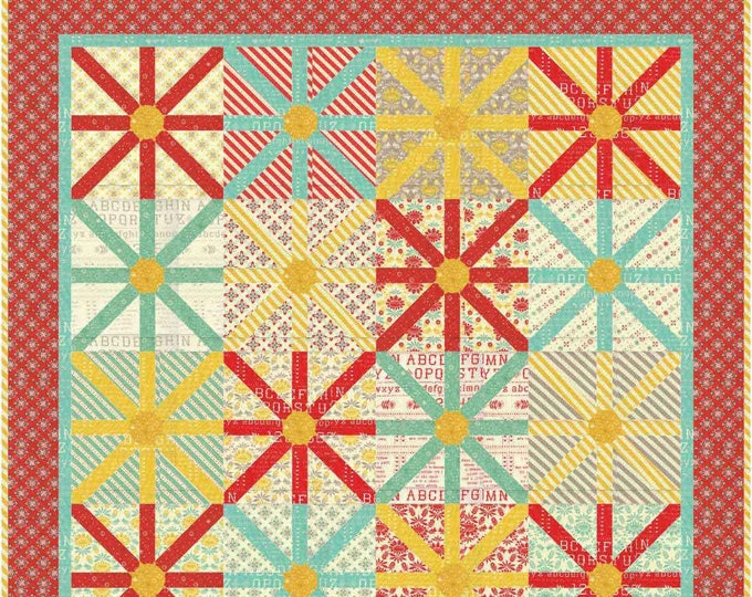 Sunshine a flower with machine applique centers pdf quilt pattern