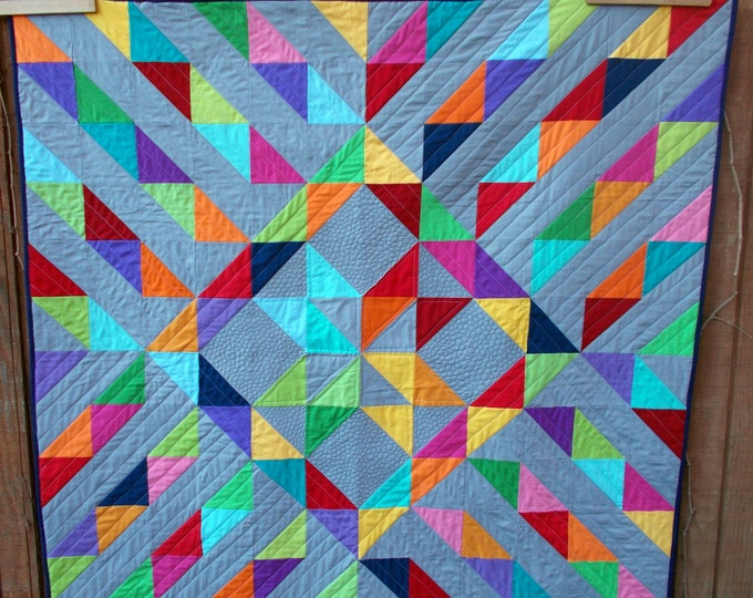 Sunshine on a Cloudy Day a quilt pattern full of half square triangles