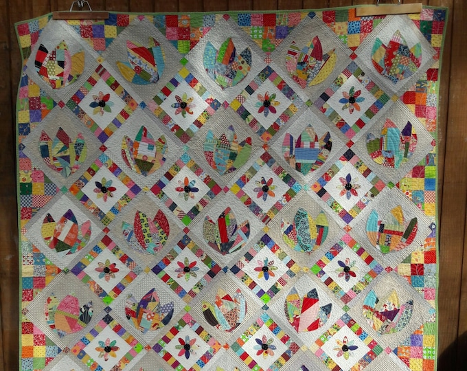 Mary's Garden, a scrap, pdf quilt pattern