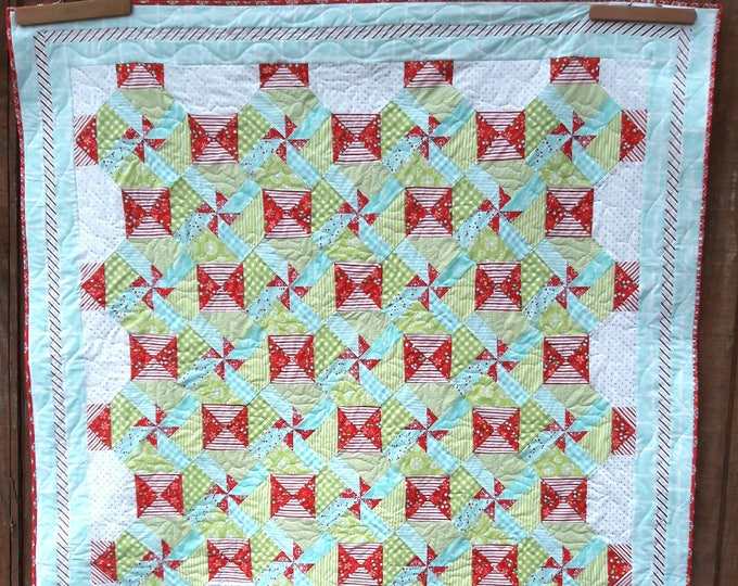 Merriment patchwork, holiday pdf quilt pattern with pinwheels