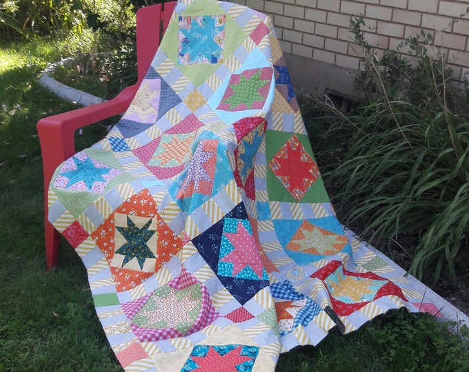 Twinkle a scrappy, star, pdf quilt pattern with strata sashing and corner posts
