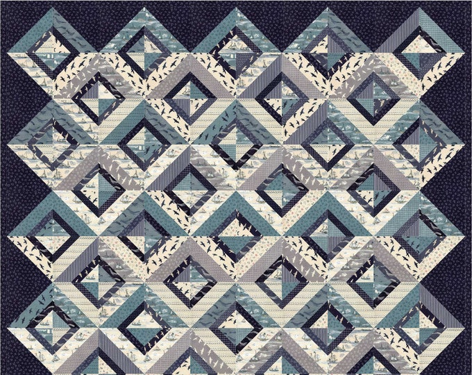 Portals a nautical themed, sting pieced, patchwork, man quilt pattern