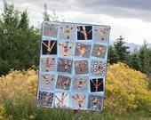 Yarn Bomb Trees a layer cake, scrap quilt pdf pattern