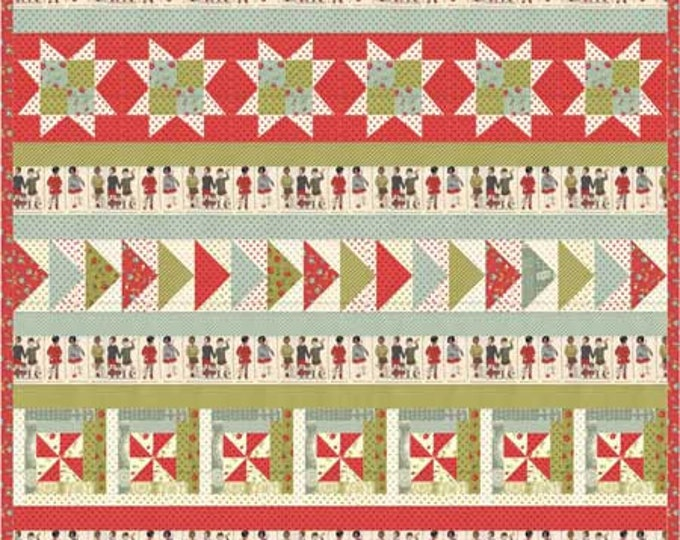 This & That a row quilt pattern full of stars, pinwheels, and flying geese