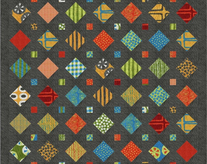 Treasures a pre-cut,  patchwork, scrap quilt, pdf pattern with multiple sizes