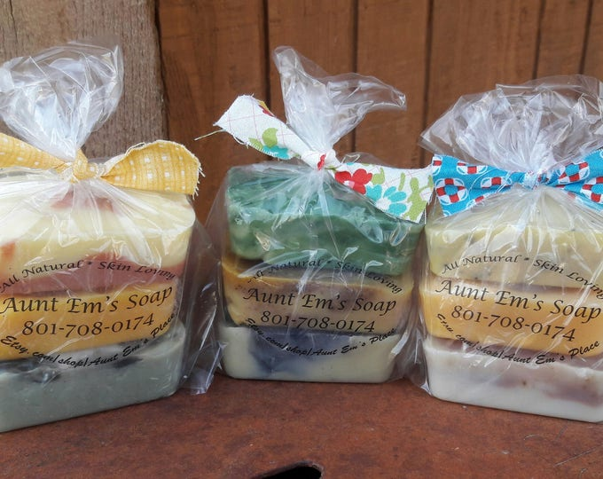 Set of 3 All Natural Soap Mini Sampler with essential oils and botanicals