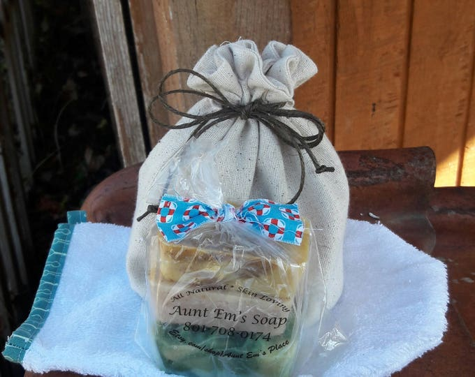 Set of 3 All Natural Soap, Spa Gift Set with drawstring bag and bath mitt