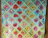 Wonky Rose Garden, pdf quilt pattern