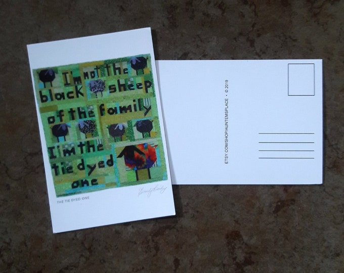 I'm not the Black Sheep quilt postcard