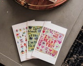 Set of three greeting cards