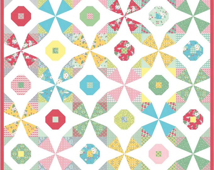 Beeline- kaleidoscope and snowball blocks combine in this pdf quilt pattern