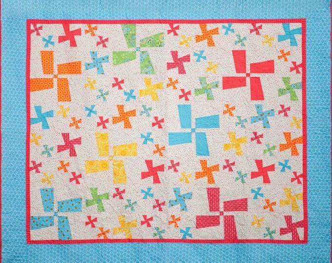 Let's Go Dutch pinwheel, patchwork, beginner, pdf quilt pattern