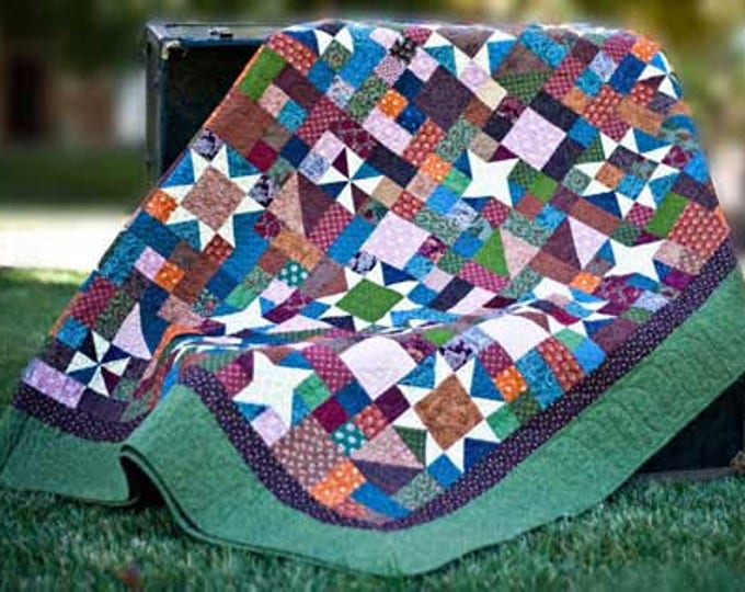 Harvest Sky patchwork, pinwheel and star, precut friendly, scrap quilt pdf pattern