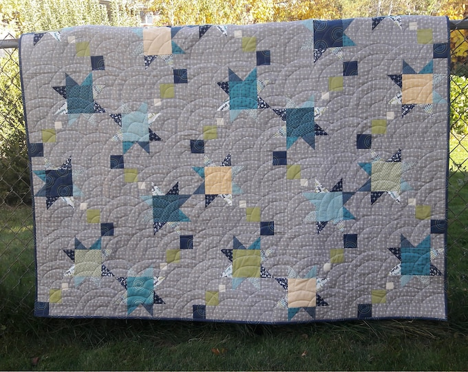 Shooting Stars baby boy, shooting star, patchwork quilt pattern
