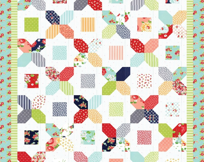 A Bushel and A Peck charm pack, modern patchwork quilt pdf pattern