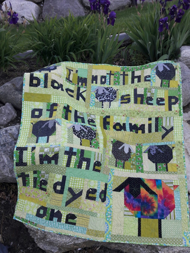 Tie Dyed Sheep a scrap quilt pattern image 0