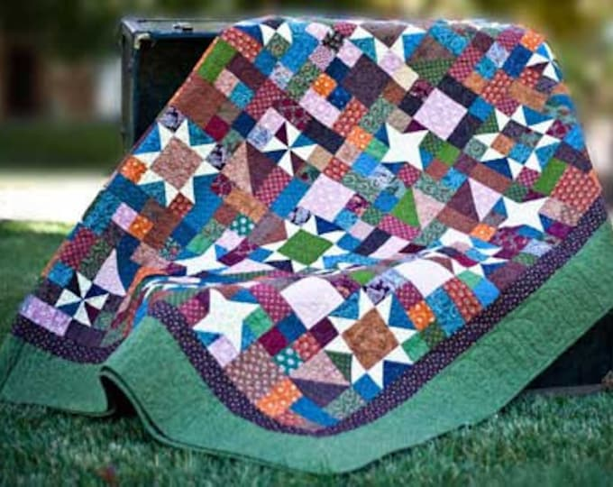 Harvest Sky patchwork, pinwheel and star, precut friendly, scrap quilt pattern