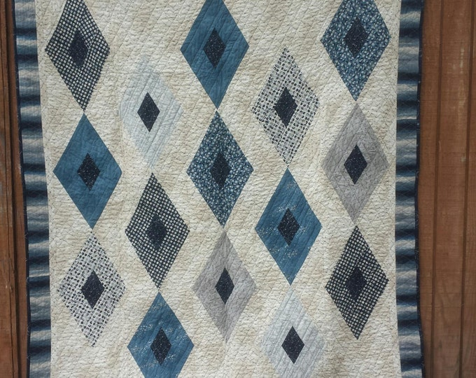 Crystalized a patchwork, diamond, pdf quilt pattern, suitable for a man