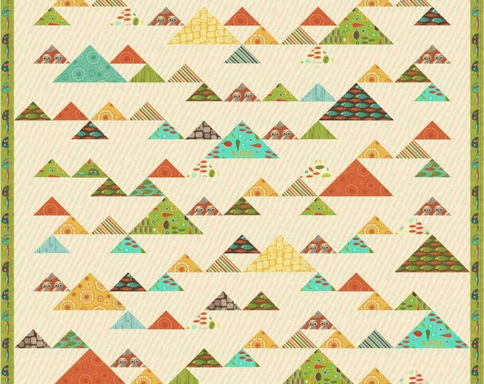 Mountain Retreat Quilt pattern using triangles set on point, a great boy quilt