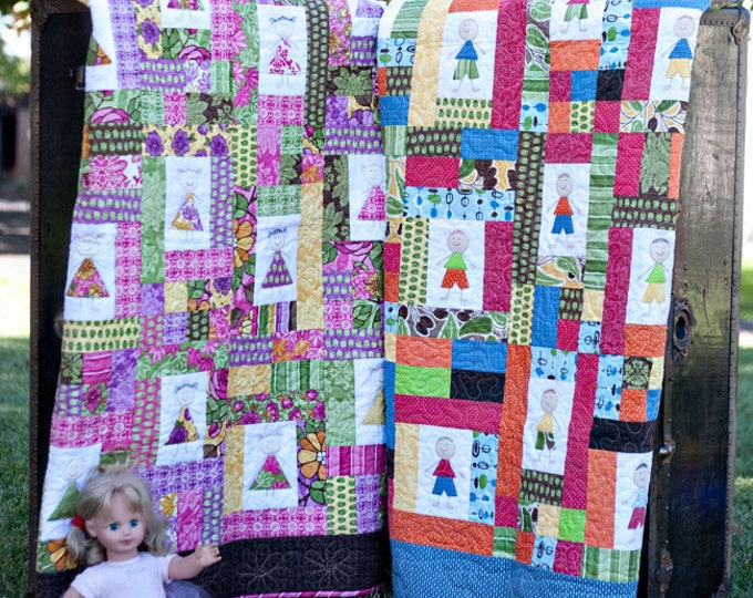 Snips and Snails meets Sugar and Spice a raw edge applique child's quilt, pdf pattern