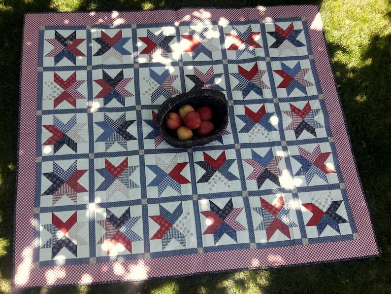 Braveheart picnic quilt & matching table runner pattern image 0