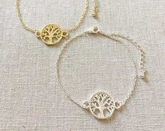 Tree of Life Bracelet, Silver Bracelet, Gold Bracelet, Dainty Bracelet, Delicate Bracelet, Bridesmaid gift, Birthday gift, wedding gift
