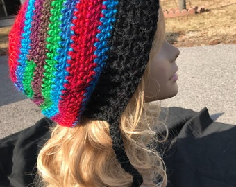Beanie, tram, slouch Womens colorful Slouch Beanie Boho Hat, Multi Color Hippie Hat
