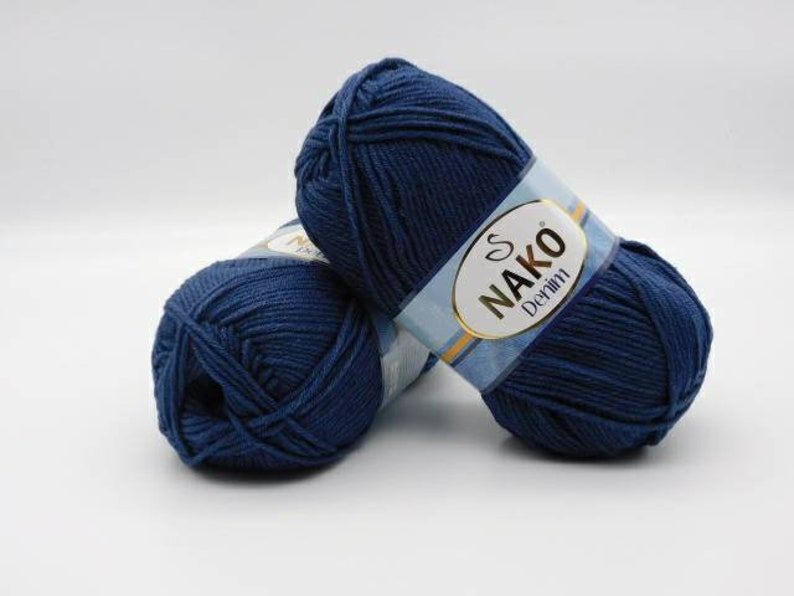 Worsted Weight Yarn Cotton Acrylic Blend Nako Denim