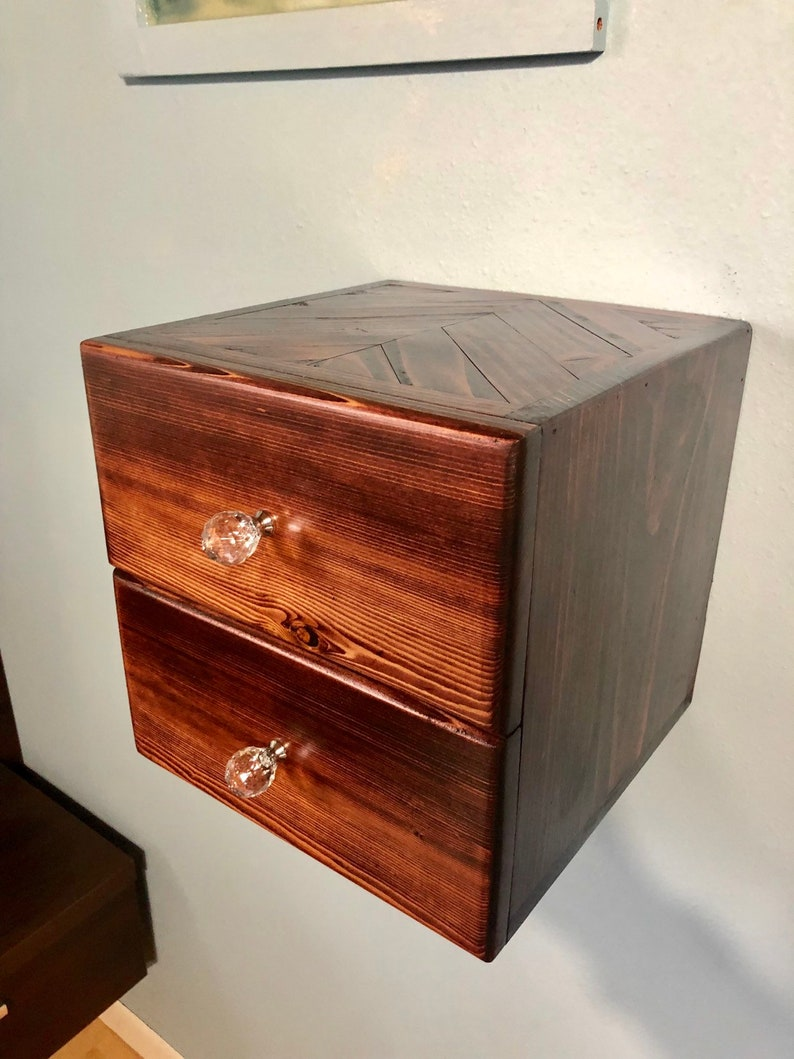 One Floating Nightstand With 2 Drawers And A Chevron Top Dimensions 12x12x12