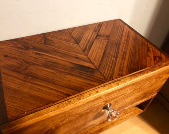 Floating Nightstand with 1 Drawer and a Chevron Top Dimensions (20x12x12)