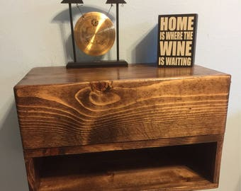 2 Floating Nightstands with Drawers Dimensions (20x12x11)