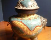 Chinese Cloisonne Dragon Incense Burner Foo Dog Bronze Censer 1800s