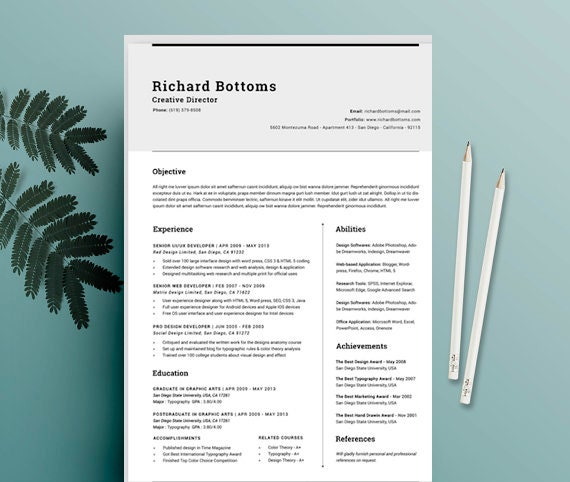 creative resume design cv template cover letter for ms etsy