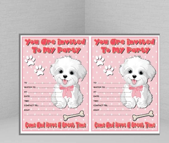 Puppy Birthday Invitation Printable Invite Time To