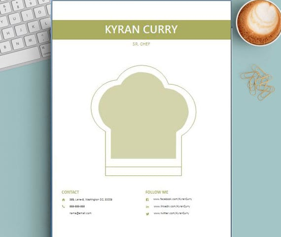 chef resume chef template template for word 3 pages chef etsy