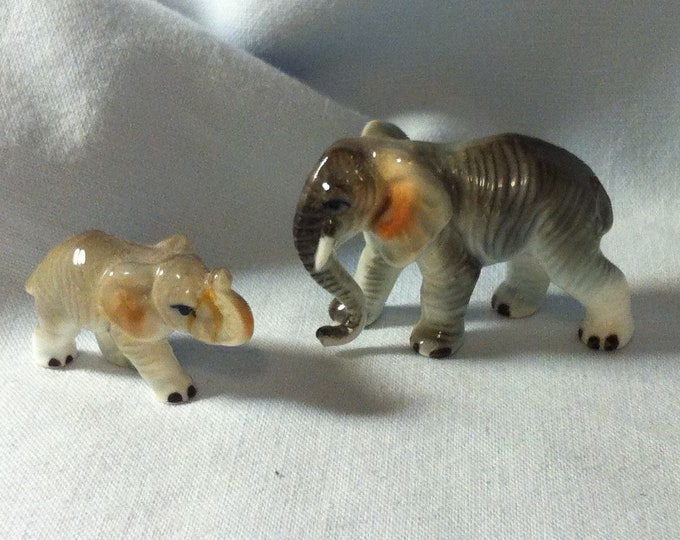 Vintage Porcelain Figure elephant mother Child Miniatures Figure Decoration