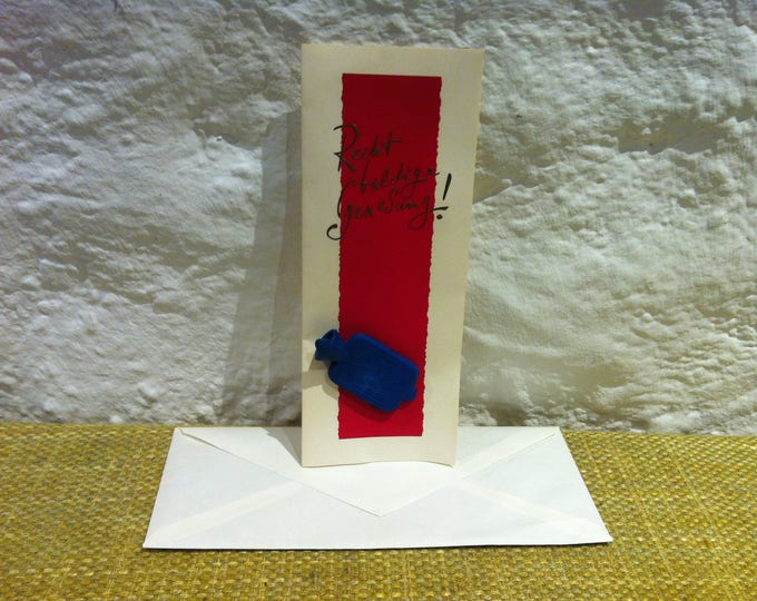 Vintage Greeting Card with Hot Bottle water Accessoires Miniature Decorativ