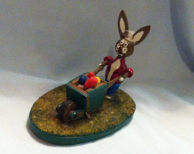 Vintage bunny with wheelbarrow Easter Bunny decoration