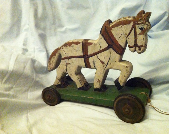 Antique German Wood Carved horse dollhouse figure rocking horse hand carved decoration