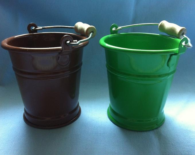 Vintage Tin Toy Bucket 2 pieces dollhouse accessoires miniature