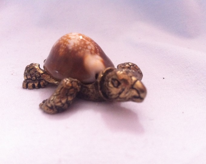 Vintage Turtle Metal Deco object with Stone