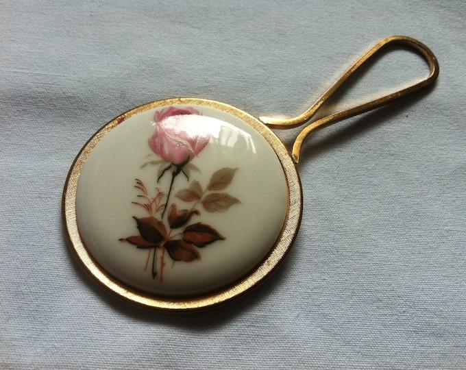 Vintage Ladies Mirror makeup mirror hand mirror flower decor, porcelain