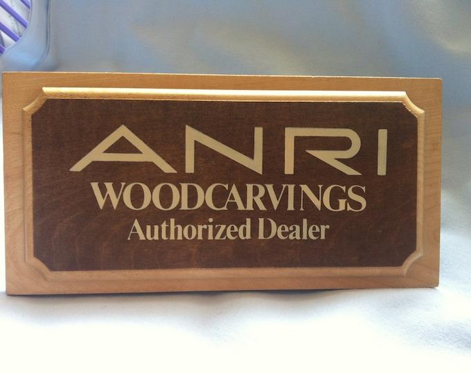 Vintage Anri sign wood decoration, shop window Holzschnitzereien Authorized Dealer