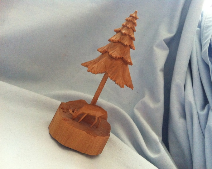 Vintage Wood ore Mountains fir Tree carved