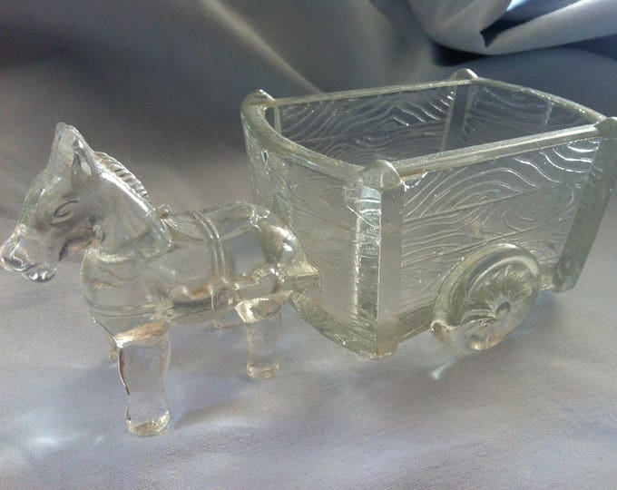Vintage 50s Glass Horse Pony Wagen Deco Objekt Press Glass