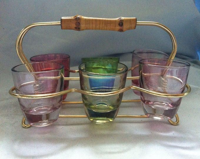 Vintage glass liquor glasses cups beautiful decoration 6 pieces