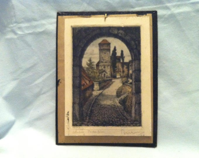Antique German Painted signed Nuremberg Burg mit Heideturm