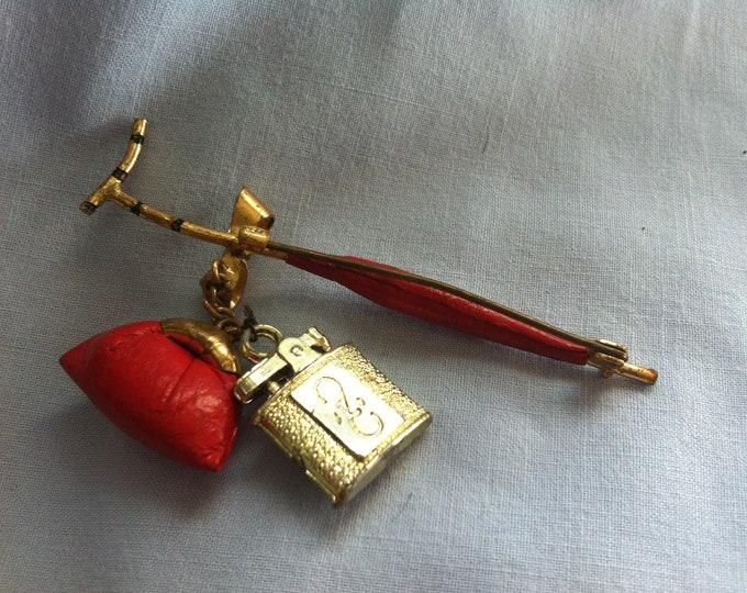 Vintage Pin, Button, umbrella, bag accessoires miniature decoration